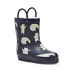 Mantaray - Boys' navy polar bear print wellies