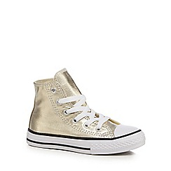 Converse - Girls' gold metallic 'All Star' high trainers