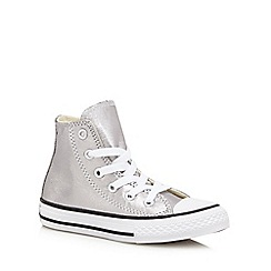 Converse - Girls' silver metallic 'All Star' high trainers
