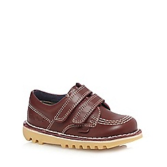 Kickers - Boys' red 'Lo' stitch detail leather shoes
