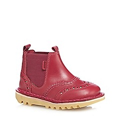 Kickers - Girls' red 'Chella' brogue detail boots