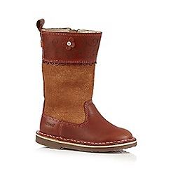 Kickers - Girls' brown petal detail leather boots