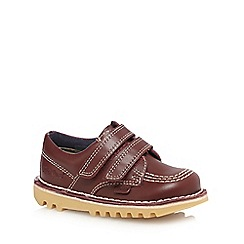 Kickers - Boys' dark red ' stitch detail leather shoes