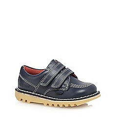 Kickers - Boys' navy 'Lo' stitch detail leather shoes