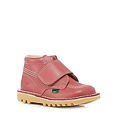 Kickers - Girls' pink leather ankle boots