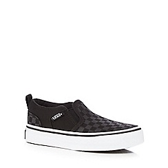 Vans - Boys' black 'Asher' check slip-on trainers