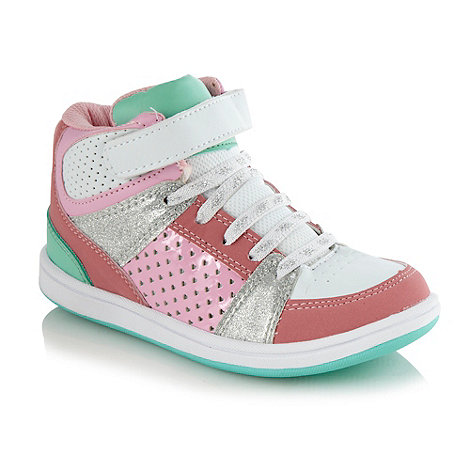 bluezoo - Girls+ pink glitter panelled high top trainers