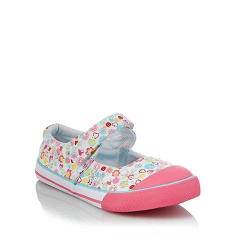 bluezoo - Girl+s pink sequinned floral canvas shoes
