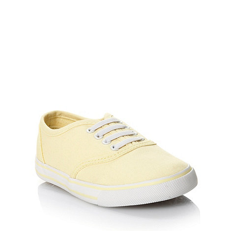 bluezoo - Girl+s light yellow deep sole canvas trainers