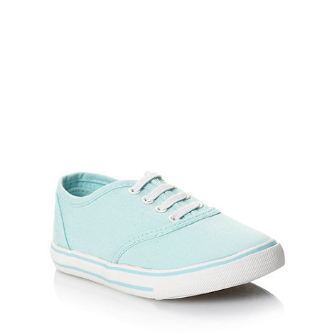 bluezoo - Girl+s light green deep sole canvas trainers
