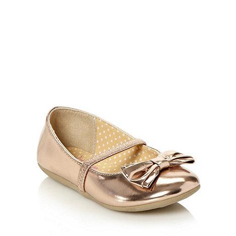 bluezoo - Girl+s metallic applique bow shoes