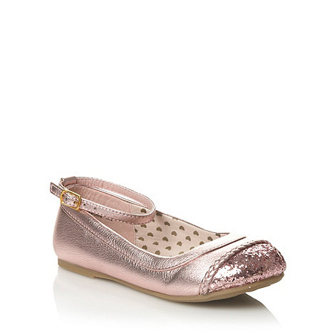 bluezoo - Girl+s pink metallic glitter toe pumps