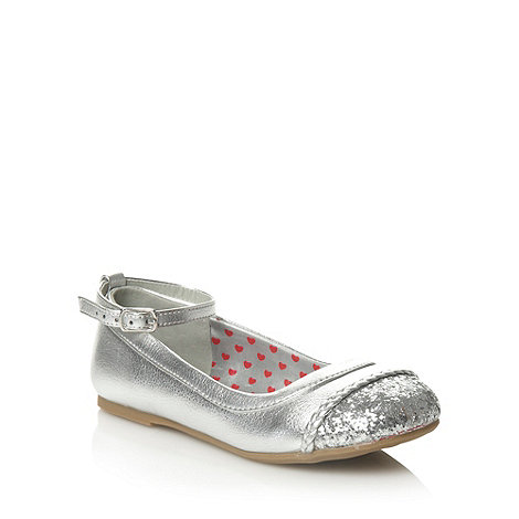 bluezoo - Girl+s silver glitter toe cap shoes