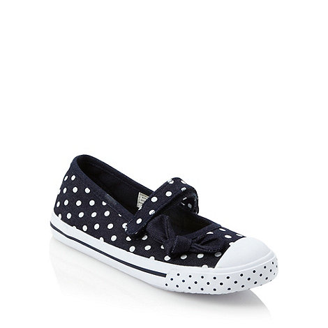 bluezoo - Girl+s navy polka dotted pumps
