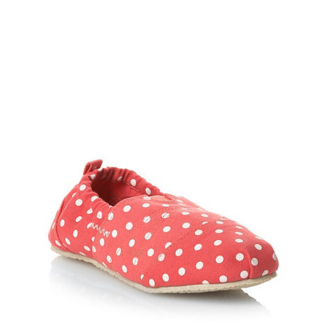 Mantaray - Girl+s dark coral polka dotted espadrilles