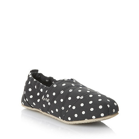 Mantaray - Girl+s navy polka dotted espadrilles