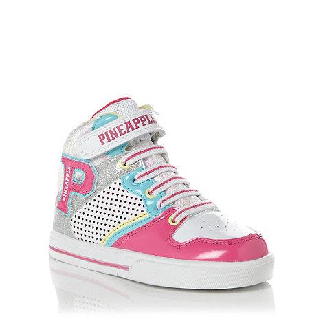 Pineapple - Girl+s white +Rocking+ hi top trainers