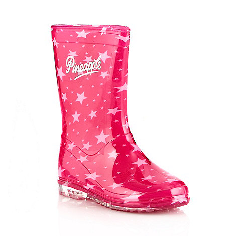 Pineapple - Girl's dark pink star patterned wellies