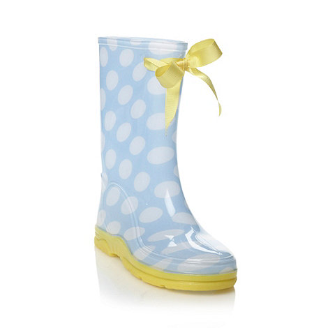 bluezoo - Girl+s blue spot pattern wellies