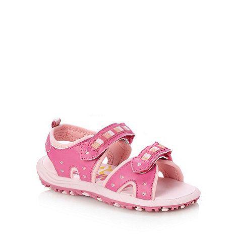 bluezoo - Girl+s pink embroidered striped heart sandals