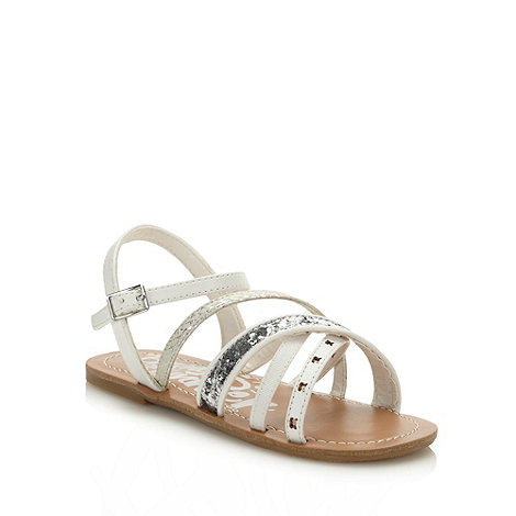 bluezoo - Girl+s white patterned strapped sandals