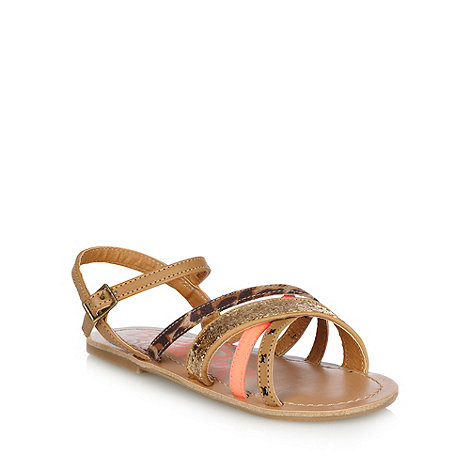 bluezoo - Girl+s tan cross over strap sandals