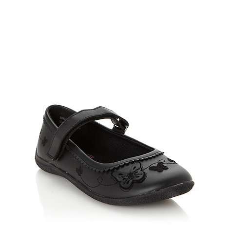 bluezoo - Girl+s black butterfly applique crepe sole shoes
