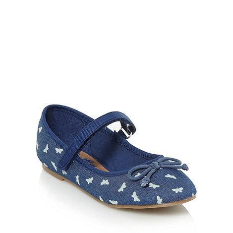 bluezoo - Girl+s dark blue denim butterfly pumps