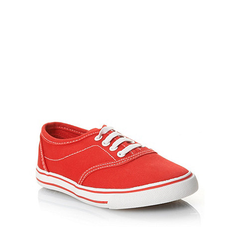 bluezoo - Children+s red stitched canvas trainers