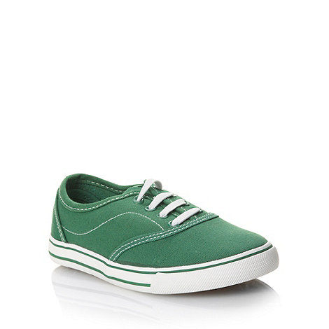 bluezoo - Children+s dark green stitched canvas trainers