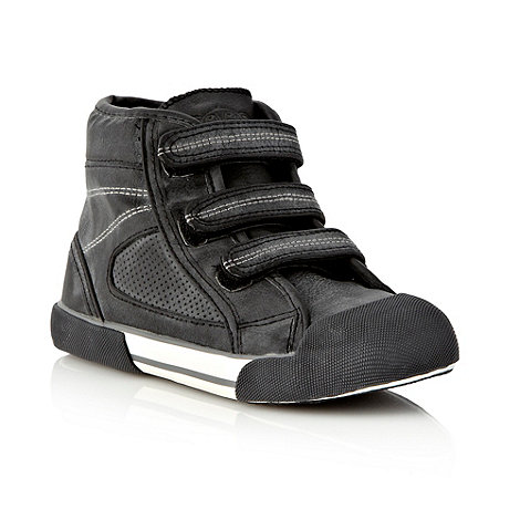 bluezoo - Boy+s black faux leather high top trainers