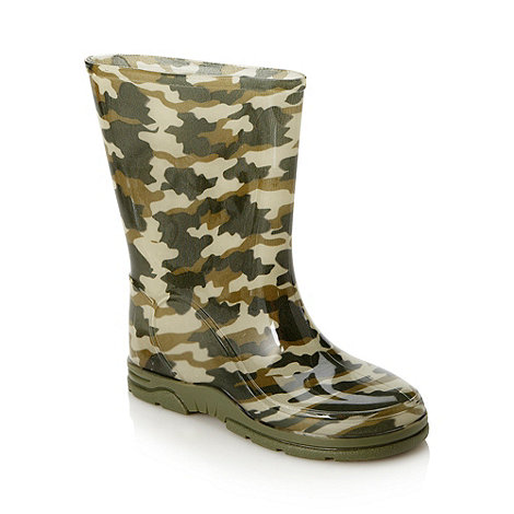 bluezoo - Boy+s dark green camouflage wellies