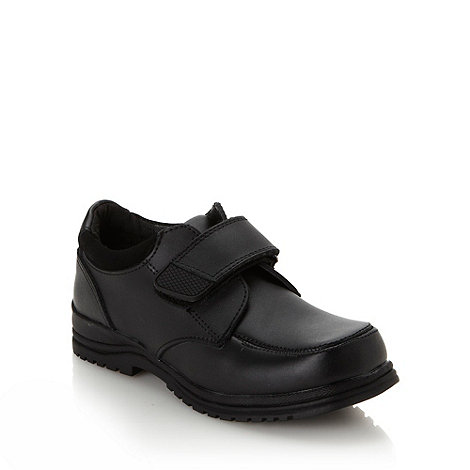 bluezoo - Boy+s black coated leather tab shoes