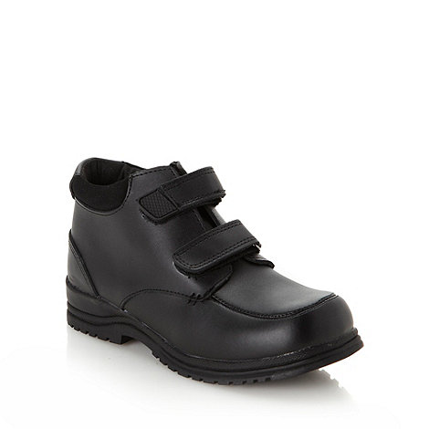 bluezoo - Boy's black coated leather tab boots