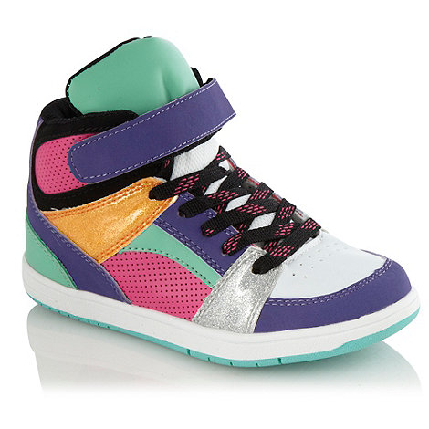 bluezoo - Girls' purple neon and glitter high top trainers