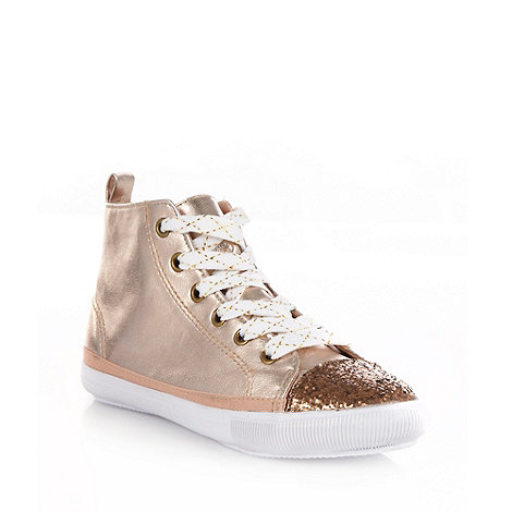 bluezoo - Girl+s bronze glitter toe high top trainers