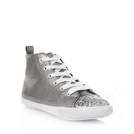 bluezoo - Girl+s silver glitter toe high top trainers
