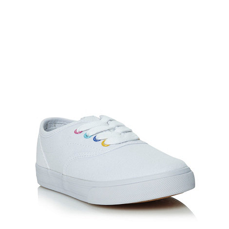 bluezoo - Girls+ white multi coloured eyelet trainers