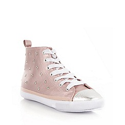 bluezoo - Girl's metallic pink studded high top trainers