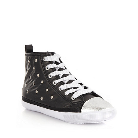 bluezoo - Girl+s black studded high top trainers