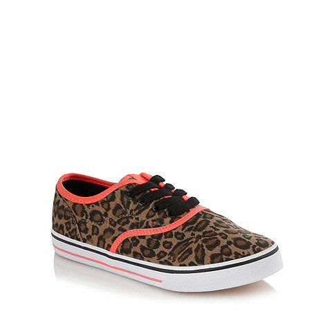 bluezoo - Girls+ brown neon trimmed leopard patterned trainers
