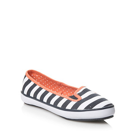 bluezoo - Girl's white stripe pattern canvas shoes