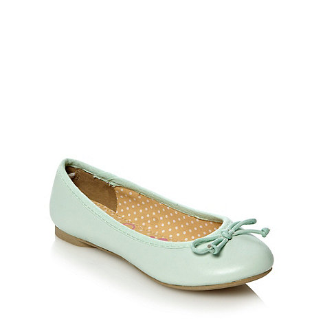 bluezoo - Girl+s pale green ballet pumps with bow trim