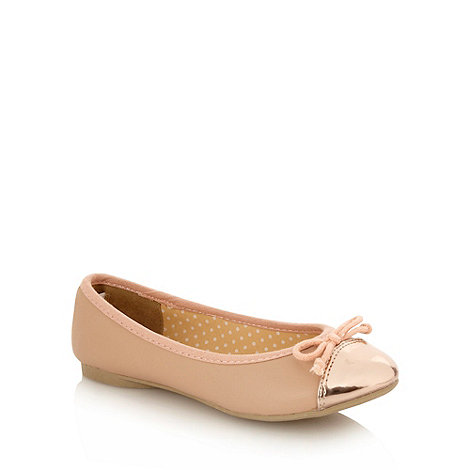 bluezoo - Girl+s natural metallic toe ballet pumps
