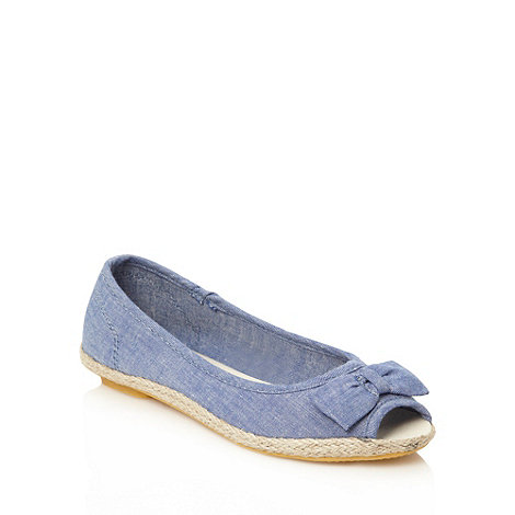 bluezoo - Girl+s blue chambray peep toe espadrilles