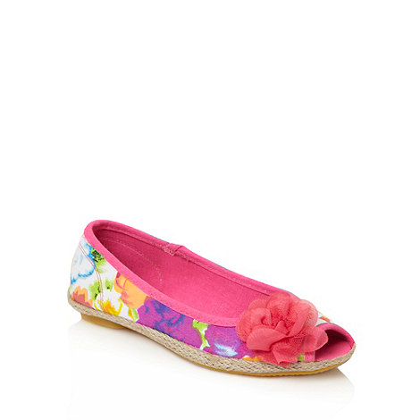 bluezoo - Girl+s pink flower peep toe shoes