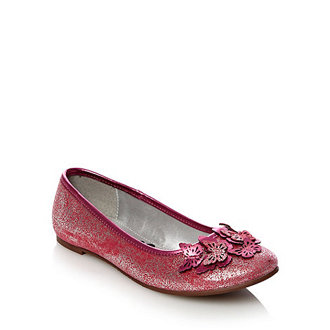 bluezoo - Girl+s dark pink metallic butterfly trim pumps