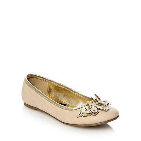 bluezoo - Girl+s light gold butterfly trim pumps