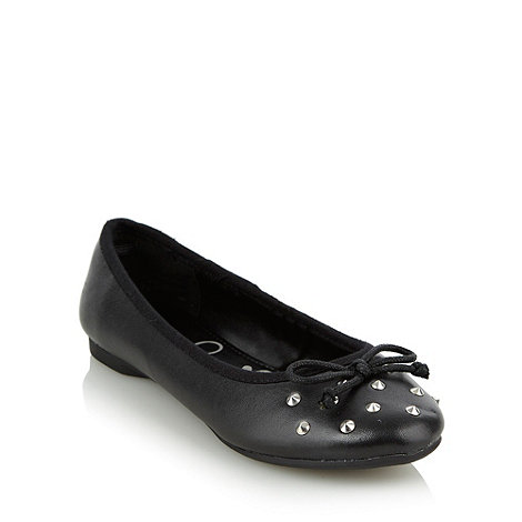 bluezoo - Girl+s black studded ballet pumps