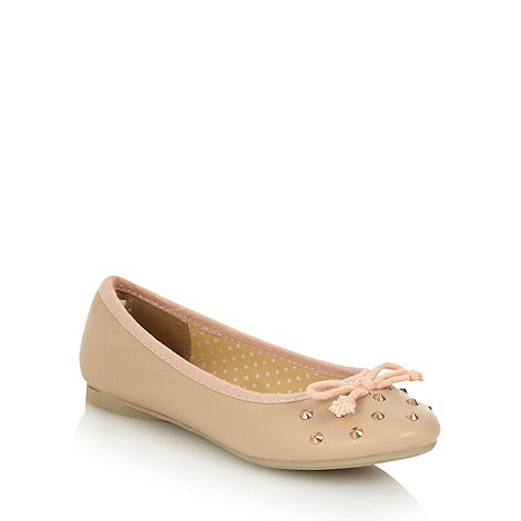 bluezoo - Girl+s natural studded ballet pumps